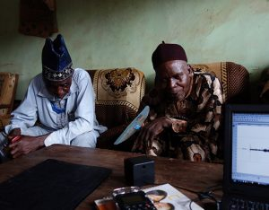 Sound elicitation research, Afokpella, North Edo. Photograph by Paul Basu.