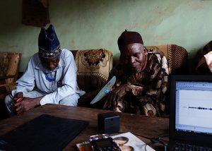 Sound elicitation research, Afokpella, North Edo. Photograph by Paul Basu.