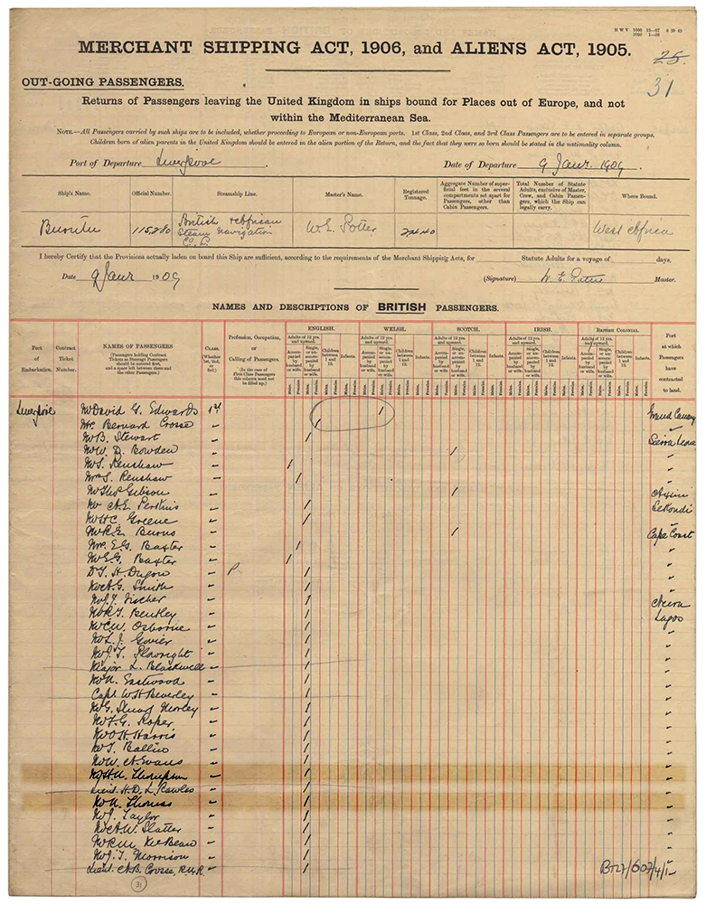 Passenger List of the S. S. Burutu, departing from Liverpool, 9th January 1909.