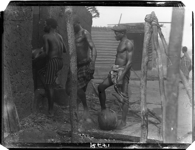 'Fire brigade', Benin City, January 1909. Photograph by N. W. Thomas.