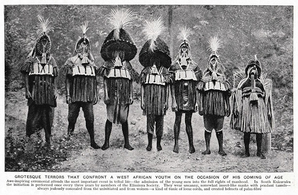 Northcote Thomas's photograph of Eliminya masquerade costumes, Otuo as published in Peoples of All Nations in 1922.