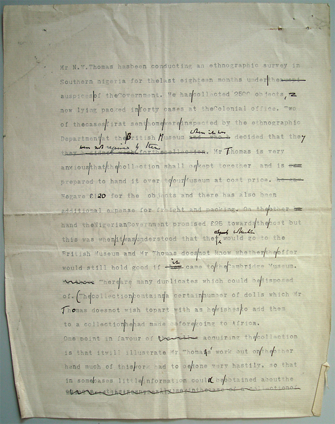 Letter from Anatole von Hugel proposing acquisition of Northcote Thomas collection, 1910
