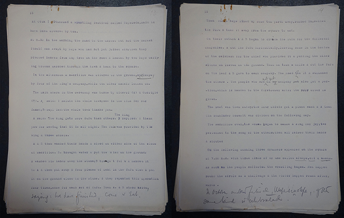 N. W. Thomas type-written notes describing wrestling festival in Otuo