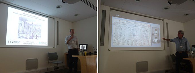 Chris Wingfield and Michae Aird at the Museum Affordances workshop, Cambridge