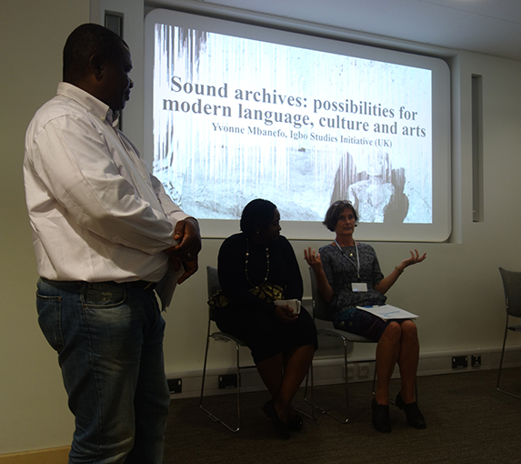 Ikenn Onwuegbuna, Yvonne Mbanefo and Janet Topp Fargion at the Museum Affordances workshop, Cambridge