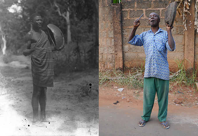 Nriaka, the town crier of Nri in 1911, photographed by Northcote Thomas, and Edechi Chidokwe, the present-day town crier of Nri.