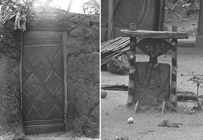 Examples of wood carving photographed by Northcote Thomas in Amansea in 1911.