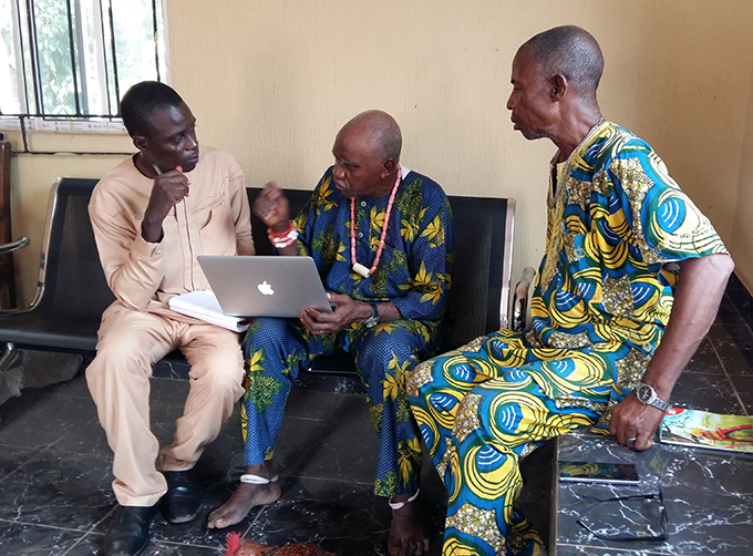 George Agbo in conversation with Chief Anaemena, Amansea.