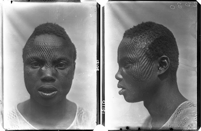 Northcote Thomas photograph of Iyiazi, ichi marks, Nri, 1911.