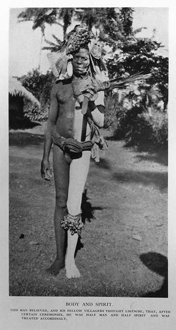 George Basden photograph of man with body painting, from Niger Ibos