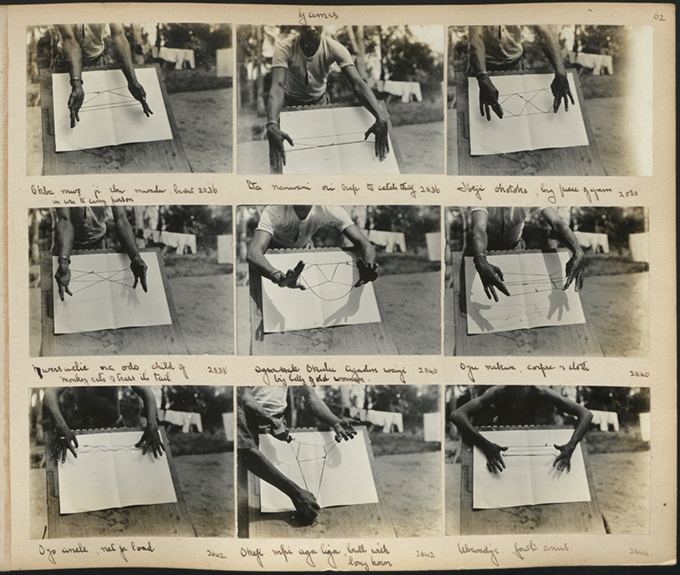 Northcote Thomas photograph album showing string games, Nigeria