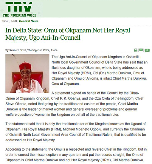 Nigerian Voice red cap article
