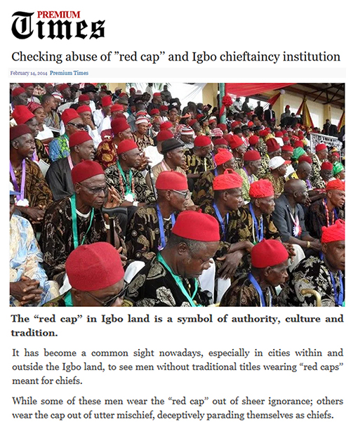 Premium Times Red Cap article