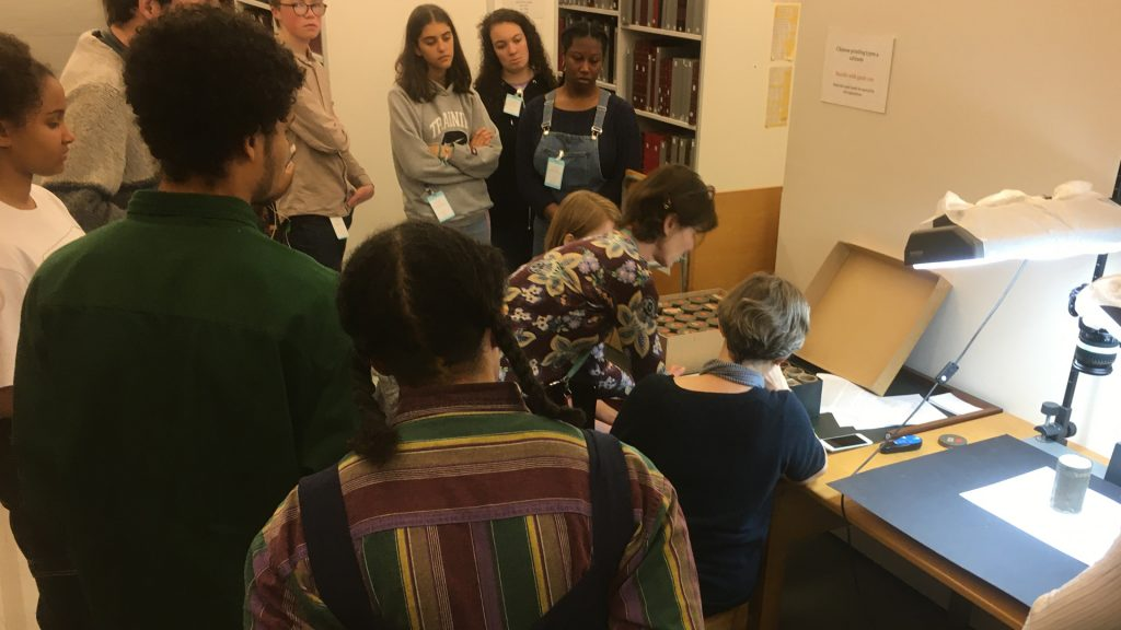 Janet Topp Fargion showing the Art Assassins the Northcote Thomas wax cylinder records at the British Library