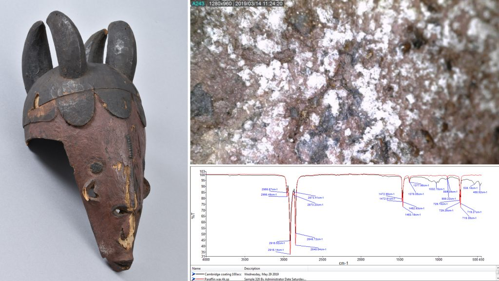 Horned mask collected by N. W. Thomas showing parafin deposits