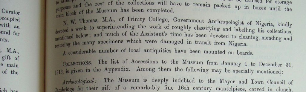 Excerpt from Cambridge Report of the Antiquarian Committee, 1913