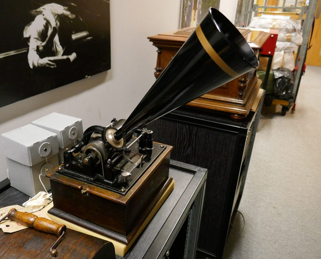 Wax cylinder phonograph recorder at the British Library