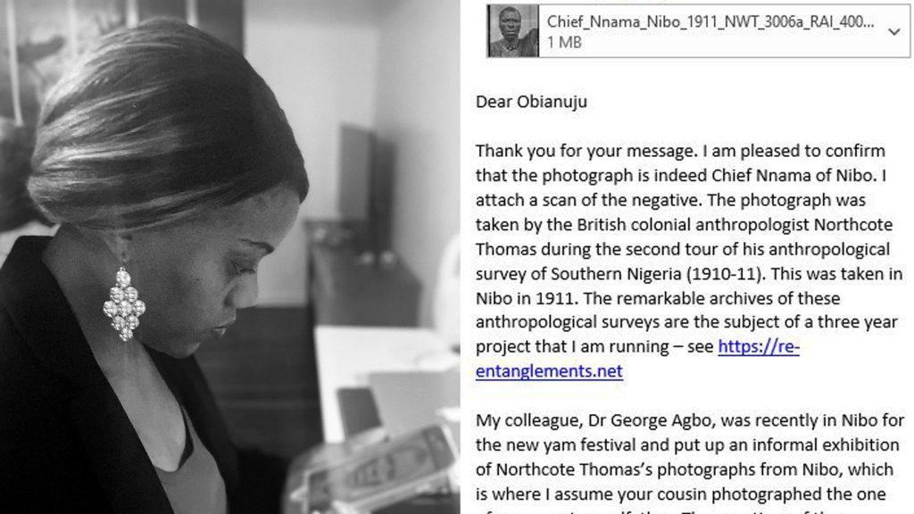 Dr Obianuju Helen Okoye, Nnama and email correspondence