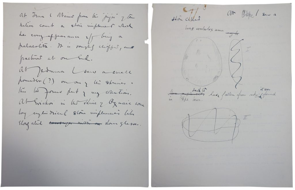 Northcote Thomas, Edo manuscript, stone celts