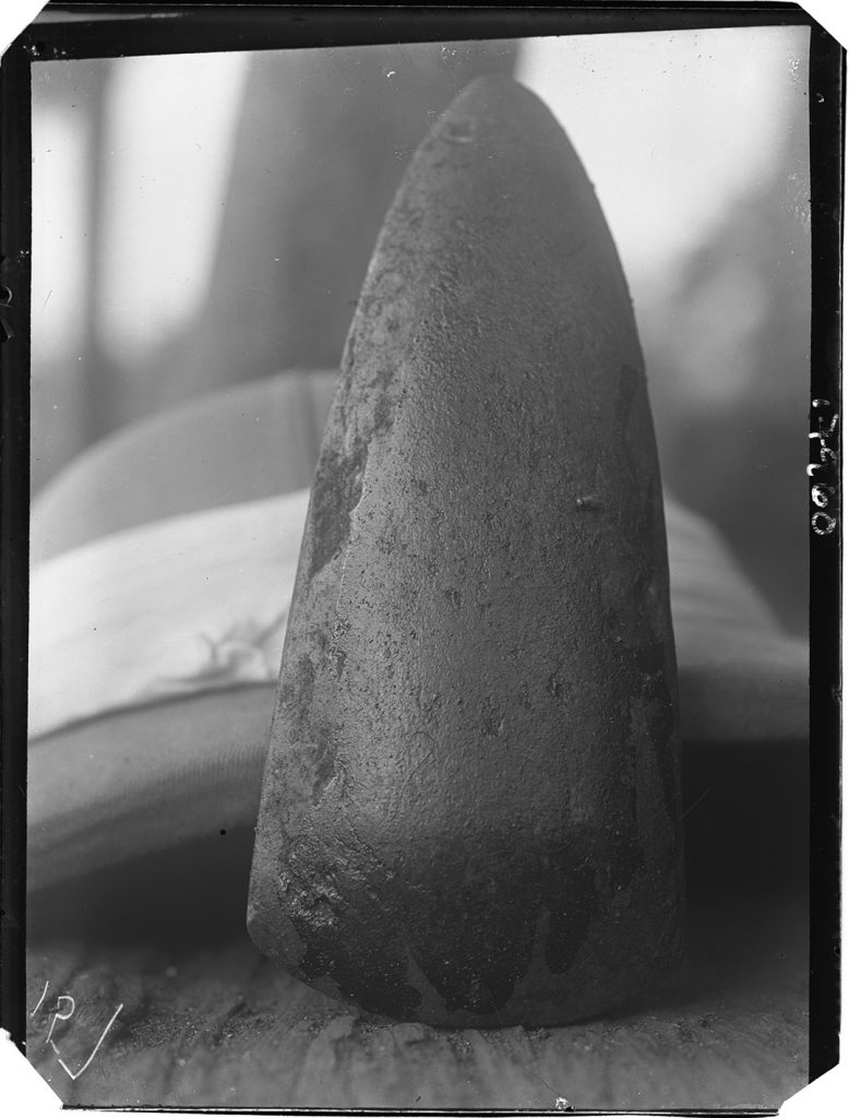 Polished stone axe, Ozomo shrine, Benin City, 1909