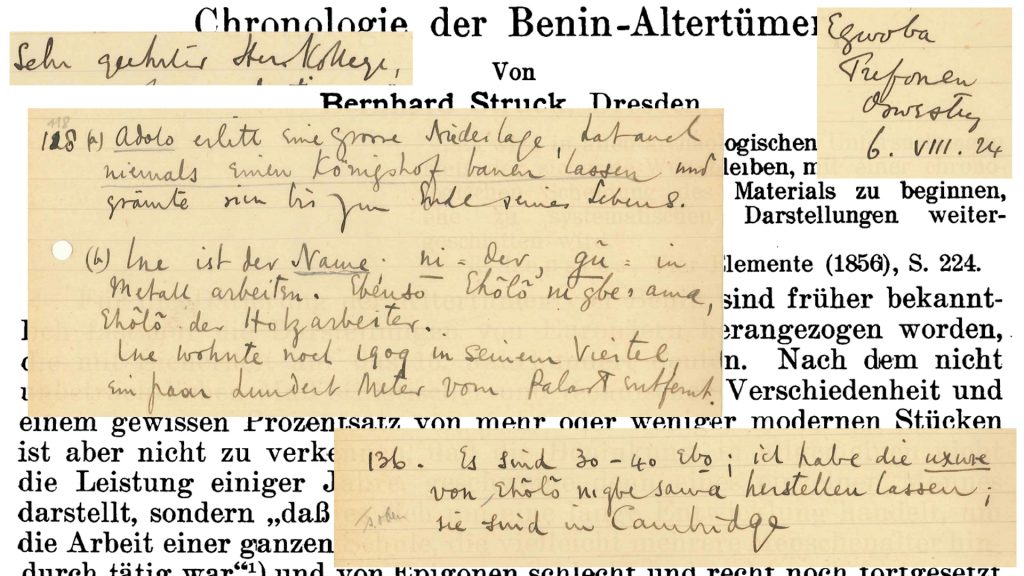 Correspondence between Northcote Thomas and Bernhard Struck