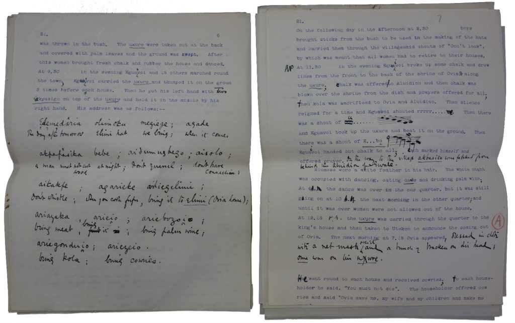 Northcote Thomas's typescript notes on the Ovia Festival, Iyowa, 1909