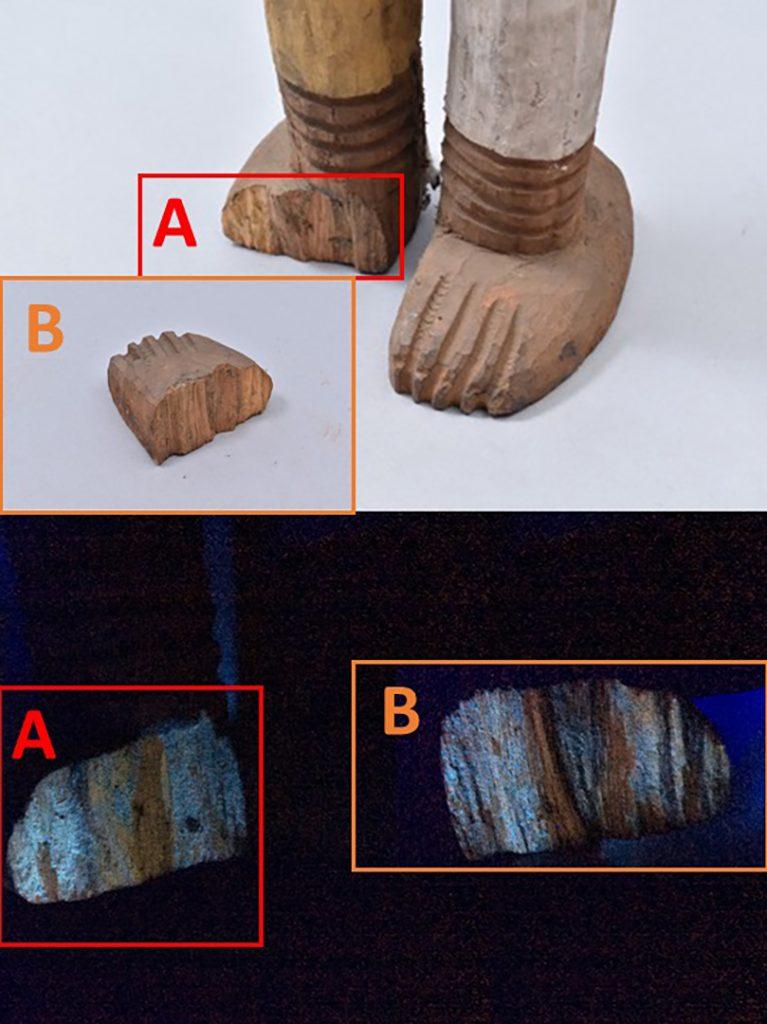 Ultraviolet light Ngene alusi figure, damage to foot