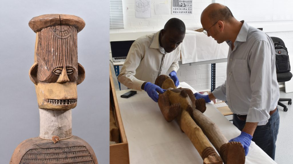 Inspecting Ngene alusi figure, University of Cambridge Museum of Archaeology & Anthropology