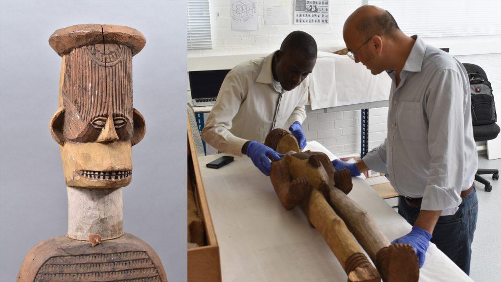 Inspecting Ngene alusi figure, University of Cambridge Museum of Archaeology & Anthropology