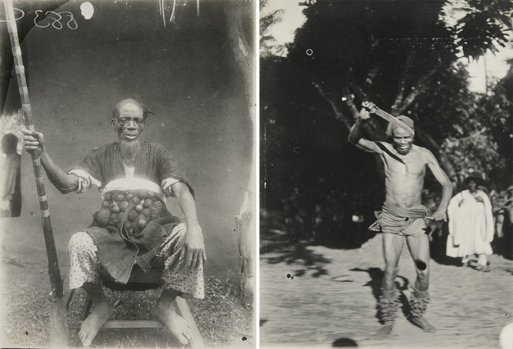 Left: chief clothed in war dress, Sabongida, 1909; right: Ebisua dance, Fugar, 1909.