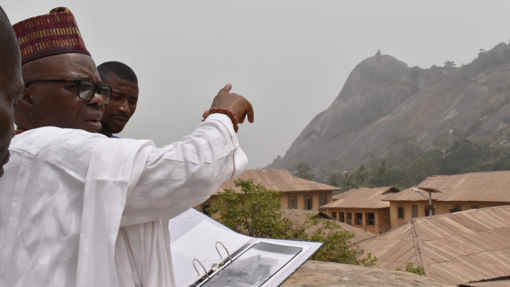 Oba Sule Idaiya pointing out the old site of Somorika, Edo State, Nigeria