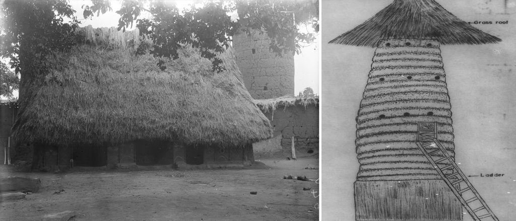 Obu and watchtower, Awgbu, Nigeria. Photographed by Northcote Thomas, 1911.