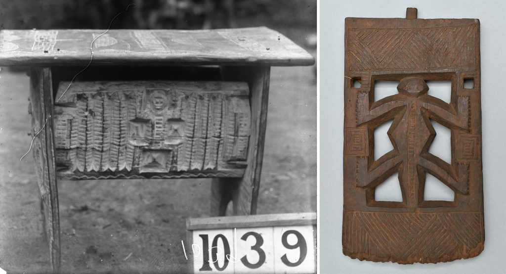 Stool used for worship of father, Ubiaja and end of stool, Irua. Northcote Thomas.