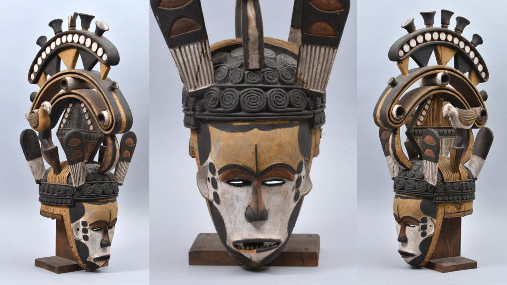 Maiden spirit mask collected by Northcote Thomas in Agukwu Nri, Nigeria. Prior to conservation.