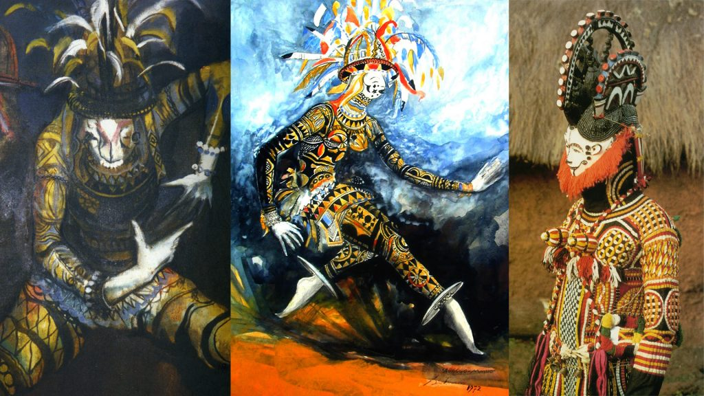 Left and centre: Agbogho mmuo (maiden spirit masquerade) as painted by Ben Enwonwu. Right: Photograph of Agbogho mmuo costume by G. I. Jones.