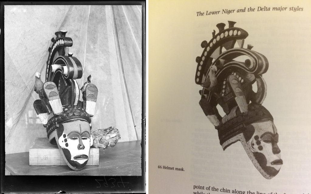 Left: Photograph of maiden spirit mask collected by Northcote Thomas in Agukwu Nri at the time of acquisition in 1911; Right: Photograph of the mask published in G. I. Jones' Art of Southeast Nigeria.