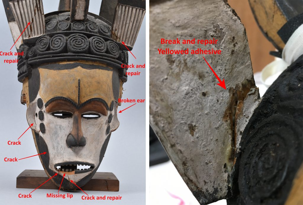 Left and centre: Maiden spirit mask collected by Northcote Thomas in Agukwu Nri, Nigeria, noting damage to mask.