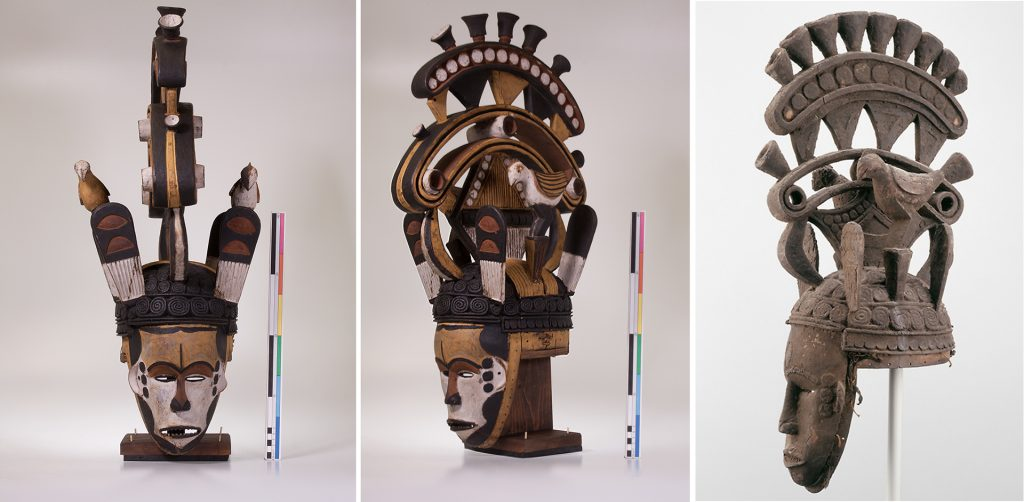Left and centre: Maiden spirit mask collected by Northcote Thomas in Agukwu Nri, Nigeria, after conservation. Right: strikingly similar mask in collection of Art Institute, Chicago.