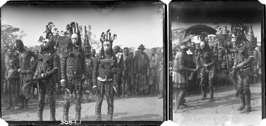 Northcote Thomas photographs of maiden spirit masquerade (agbogho mmuo), Awka, Nigeria, 1910.