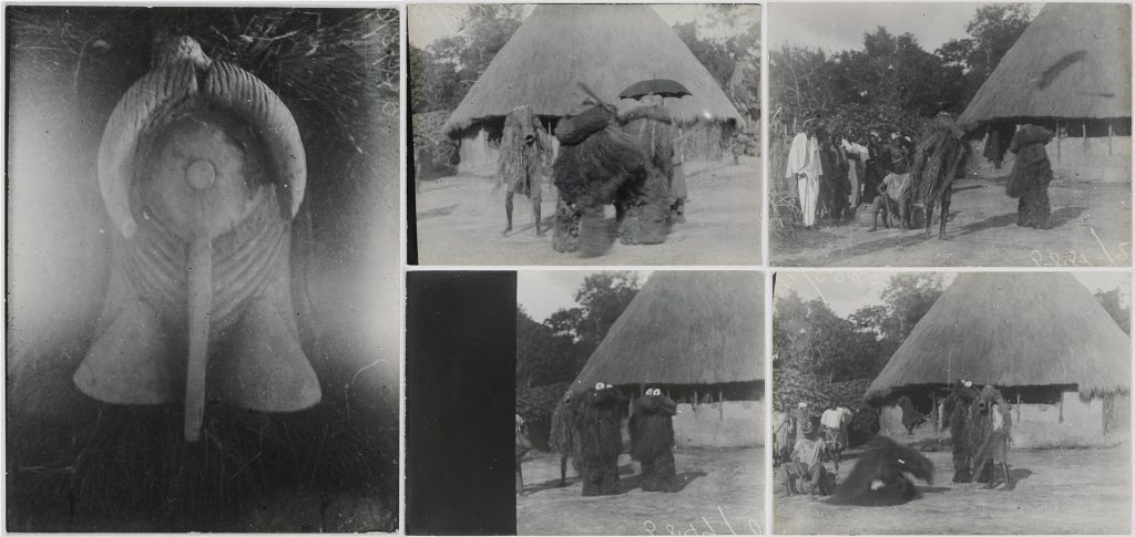 'Arong Athoma' and 'Nemankera' masquerades photographed by Northcote Thomas in Matotoka and Mamaka, Sierra Leone in 1914