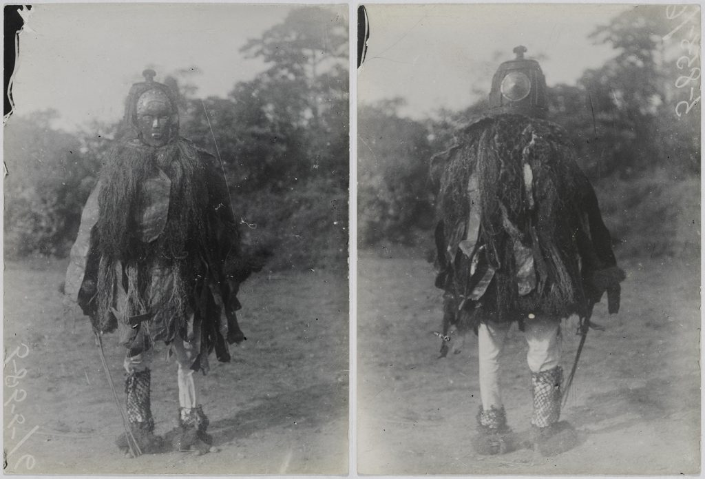 'Sanko' masquerade photographed by Northcote Thomas in Mamaka, Sierra Leone in 1914
