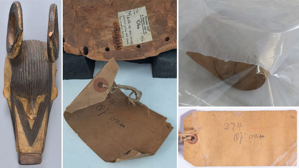 Conservation of labels associated with mask collected in Awgbu