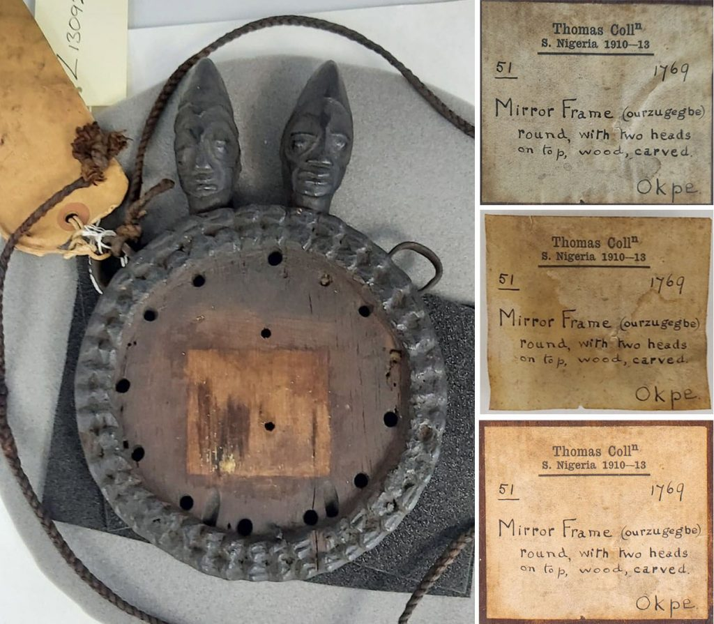 Conservation of labels associated with mirror frame collected in Okpe
