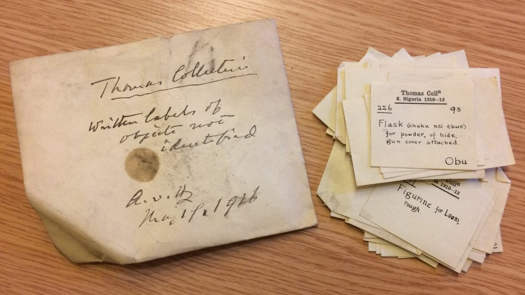 Thomas Collection, written labels of objects not identified