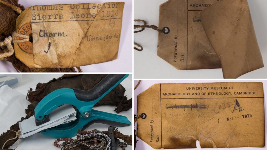 Conservation of labels associated with Sierra Leonean charm