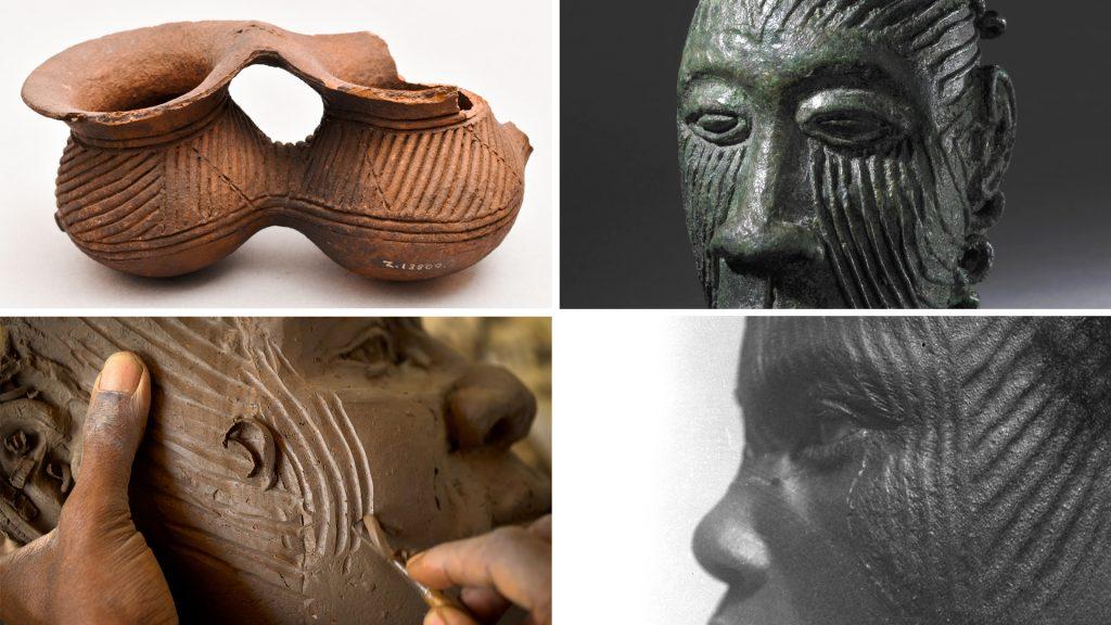 Ichi marks on pottery, Igboukwu pendant, Northcote Thomas photograph and Ozioma Onuzulike face fragment