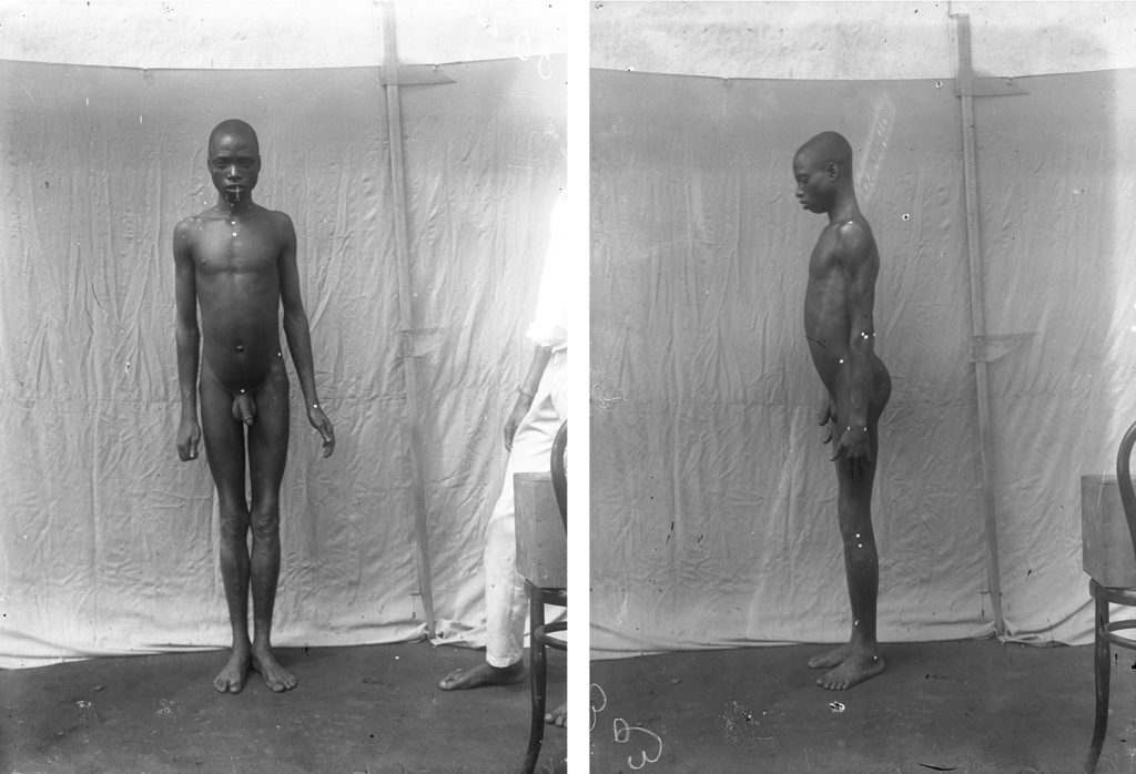 Full-length anthropological photograph taken by Northcote Thomas in Benin City, 1909