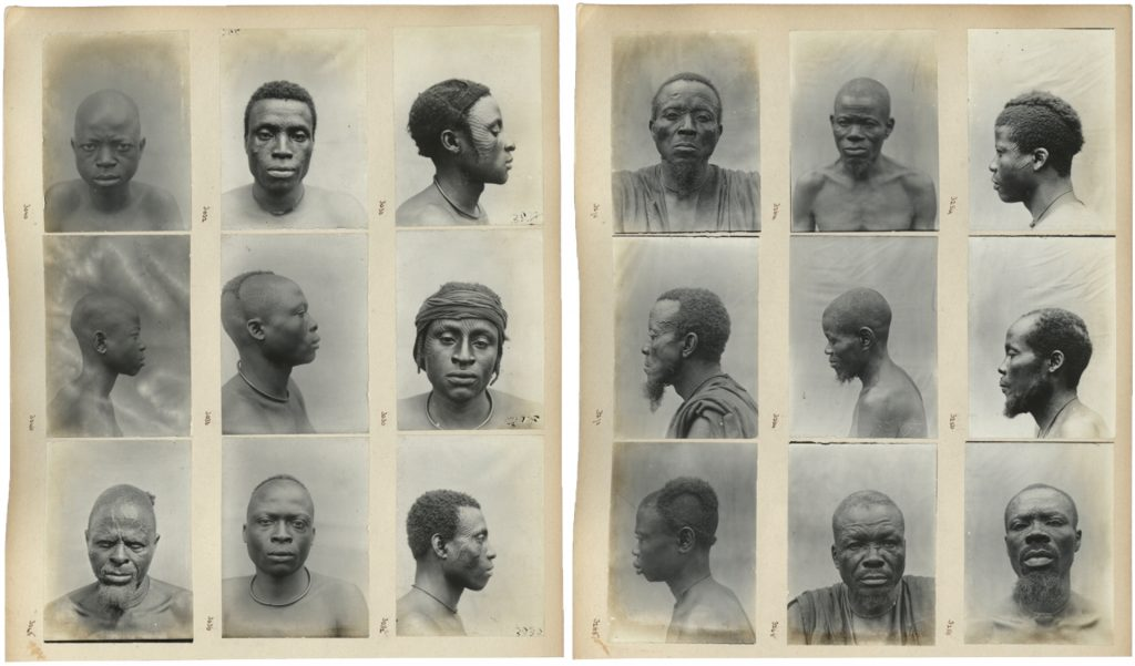 Physical type portraits in Northcote Thomas photograph album, Anthropological Survey of the Ibo-speaking Peoples of Nigeria
