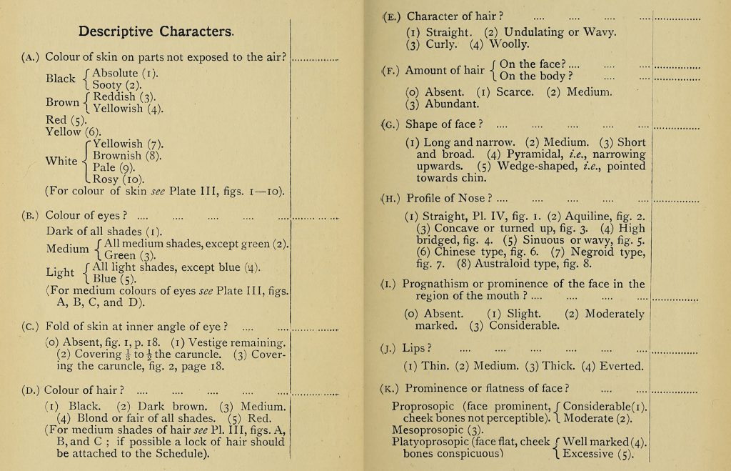 Excerpt from Notes and Queries on Anthropology concerning the documentation of physical characteristics